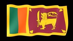 Sri Lankan flag .  Waving PNG. - stock footage