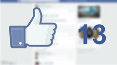 Facebook social media like 'likes' button number counter with hand cursor Stock Footage