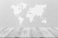 Wood terrace and Wallpaper interior texture with world map - stock illustration
