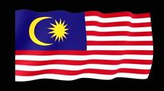Malaysian flag .  Waving PNG. Stock Footage