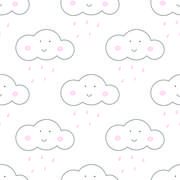 Baby vector seamless pattern. Light fun sky print for textile - stock illustration