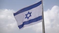 Israeli flag slow motion Stock Footage