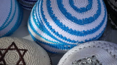 Jewish yarmulke - stock footage