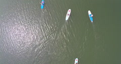 Aerial shot of Paddle Boarders Stock Footage