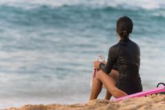 Female Surfer Stands Beach Watching Surf Waiting Pink Body Board Stock Photos