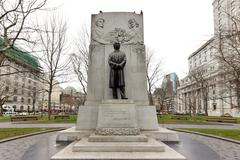 Bronze of Sir Wilfrid Laurier - Montreal, Canada - stock photo