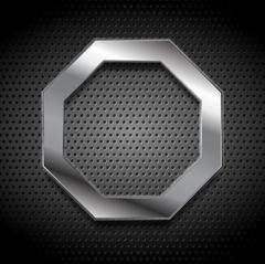 Metal octagon logo on perforated background - stock illustration