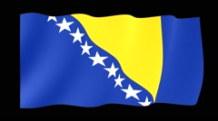 Bosnian flag .  Waving PNG. Stock Footage