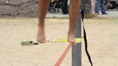 Feet on Freestyle Slackline Stock Footage