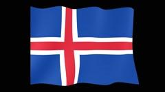 Icelander flag .  Waving PNG. Stock Footage