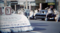 1951: General Electric 40 year anniversary celebration parade float.   ERIE, Stock Footage