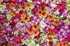 Flowers mixed in wedding scene - stock photo
