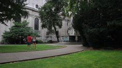 Saint Paul's Cathedral London Pan Up Stock Footage