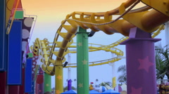 Stock Video Footage of Rollercoaster Overhead
