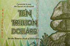 Zimbabwe twenty billion dollars banknote - stock photo