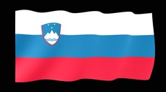 Slovenian flag .  Waving PNG. - stock footage
