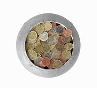 Pot with euro coins - stock photo