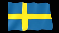 Swedish flag .  Waving PNG. Stock Footage