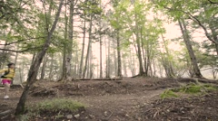 Trail runner at Mount Daibosatsu in summer, Yamanashi Prefecture Stock Footage
