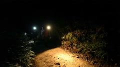 Slow motion footage of group of friends hiking Mount Daibosatsu on a night Stock Footage