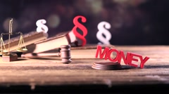 law and justice, paragraphs and books concept, dolly shot - stock footage