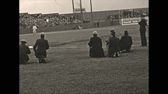 Stock Video Footage of Vintage 16mm film, 1934, New Jersey, baseball game home run