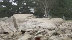 Slow motion footage of trail runner at Mount Daibosatsu in summer, Yamanashi Stock Footage