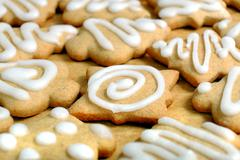 Stock Photo of Homemade Christmas gingerbread, macro Claus, feast