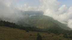 Aerial footage of clouds around Mount Daibosatsu in summer, Yamanashi Prefecture Stock Footage
