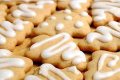 Homemade Christmas gingerbread, macro Claus, feast - stock photo