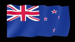 New Zealander flag .  Waving PNG. - stock footage