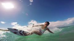 Woman Kitesurfing In Ocean, Extreme Summer Sport Stock Footage