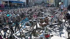 Time Lapse of Central Station Bike Park - Copenhagen Denmark Stock Footage