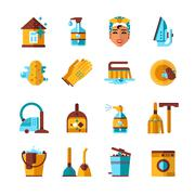 Housekeeping Cleaning Flat Icons Set Stock Illustration