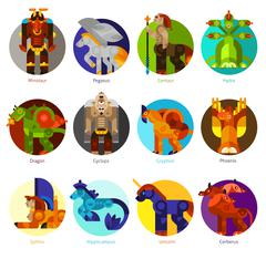 Mythical creatures icons set Stock Illustration