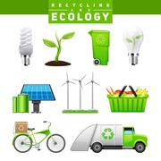Recycling And Ecology Images Set - stock illustration
