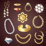 Jewelry Realistic Set - stock illustration