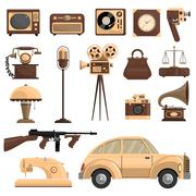 Retro Objects Set - stock illustration