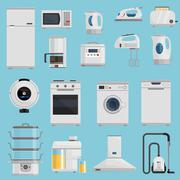Household Appliances Icons Set Stock Illustration
