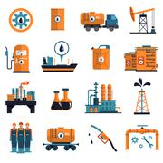 Oil Icons Set - stock illustration