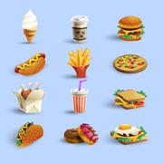 Stock Illustration of Fastfood Icons Cartoon Set