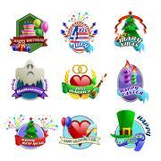 Holydays Celebrations Emblems Collection - stock illustration