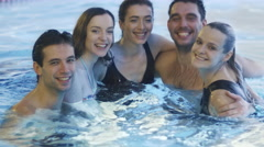 Group of Frineds Having Fun in the Pool - stock footage