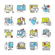 Stock Illustration of Online Education Flat Icon Set