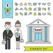 Flat Finance Concept With Businessman And Bank - stock illustration