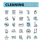 Cleaning Hand Drawn Icon Set - stock illustration