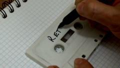 Audio Cassette Labeling Retro Handheld - stock footage