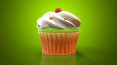 Stock Video Footage of Cupcake green background
