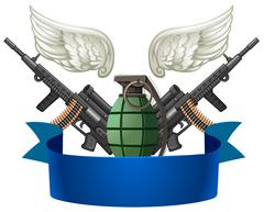 Weapon emblem with guns and bomb - stock illustration