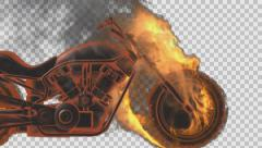 chopper bike in fire rendered in PNG with alpha channel - stock footage